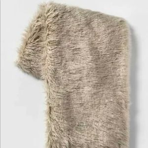 Mongolian Faux Fur Throw Blanket Tan - Project 62™